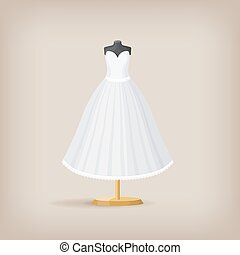 Wedding dress bridal vector illustration Wedding dress of bride or
