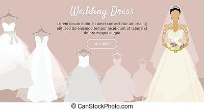 Wedding Dress Web Banner. Fashionable Bride Vector