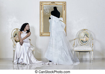 wedding dress with beauty girl