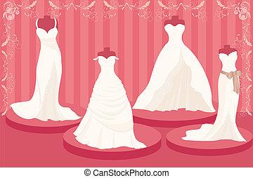 Wedding dresses - A vector illustration of a set of wedding...