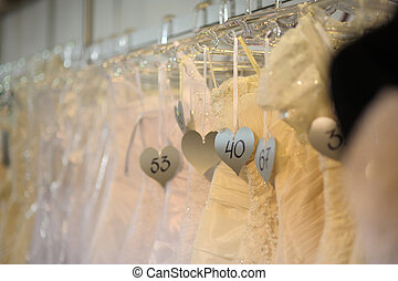 Wedding dresses exposition - Wedding dresses with numbering...
