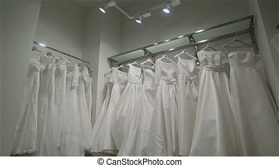 Wedding dresses in bridal boutique