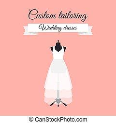Wedding dresses logo design with mannequin