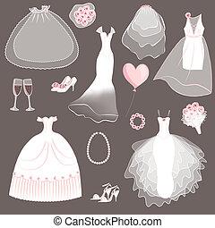 wedding dresses set - vector illustration