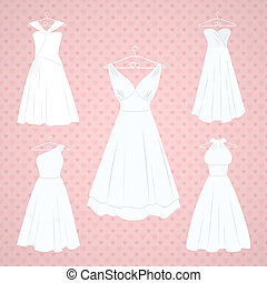Wedding dresses set on pink background with polka dot hearts