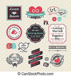 wedding, elemente, etiketten, und, rahmen, weinlese, stil