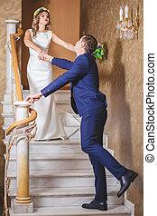 wedding emotion stairs