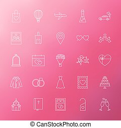 Wedding Engagement Line Icons