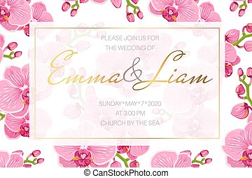 Wedding event invitation card template. Rectangular border frame decorated with bright pink orchid phalaenopsis flowers.