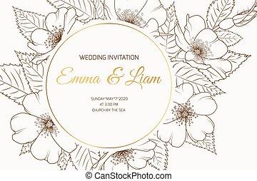 Wedding event invitation card template. Round wreath border frame with wild rose cherry sakura flowers bloom blossom.