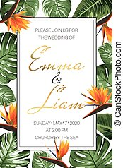 Wedding event invitation RSVP card template. Green monstera philodendron leaves orange strelitzia bird paradise flowers.