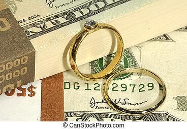 Wedding Expenses - Diamond Engagement Ring on Money -...