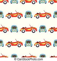 Wedding fashion transportation auto seamless pattern...