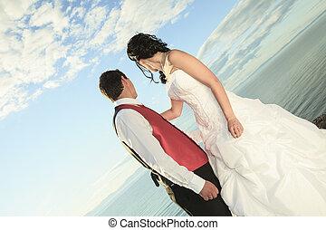 wedding, feines kunst- portrait, von, paar