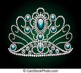 wedding feminine diadem on green background