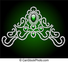 wedding feminine diadem with green stone