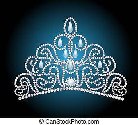 wedding feminine diadem with pearl lavaliere