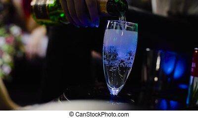 wedding., femme, verre vin, possession main, lesbienne