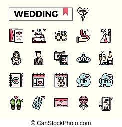 wedding filled outline icon set.
