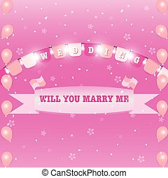 Wedding flags and marry ribbon sweet background