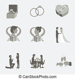 Wedding Flat Elements - Monochrome grayscale wedding flat...