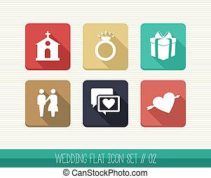 Wedding flat icon set.