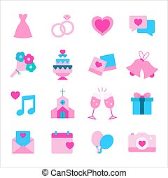 Wedding flat icon set in pink and blue color
