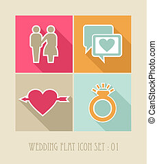 Wedding flat icon set.