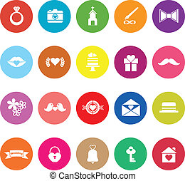 Wedding flat icons on white background