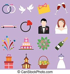 Wedding flat icons set