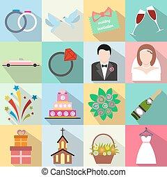 Wedding flat icons set