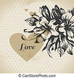 Wedding floral love card. Vintage invitation with hand drawn sketch flowers