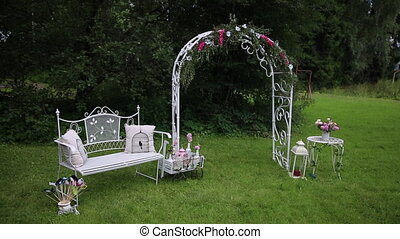 Wedding Flower Arch Decoration. Wedding arch decorated with flowers and decoration
