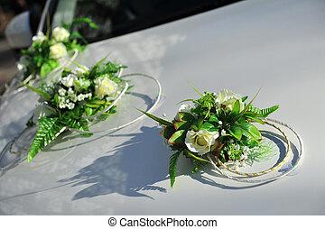 Wedding Flower bouquet decoration on vintage wedding car -...