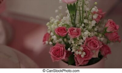 Wedding flower bouquet with pink roses