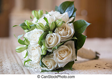 wedding flowers bouquet of white roses