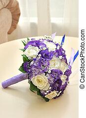 Wedding flowers, bridal bouquet closeup.