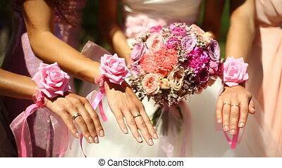 Wedding flowers hands happiness