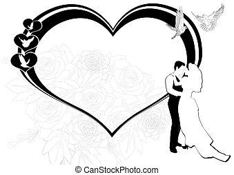Wedding frame - Newlyweds on the background of the scope of...