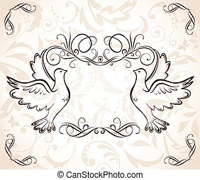 Wedding frame with doves