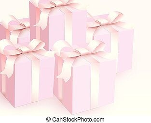 Wedding gift boxes with tender satin ribbon. Magic pink beautiful Gift closed boxes for girl, side view. Vector illustration.