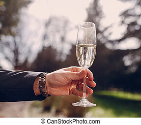 wedding glasses in hands