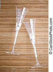 wedding glasses - crystal wedding glases over wooden...