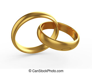 Wedding gold rings - 3d render of two wedding gold rings ...