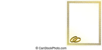 Wedding gold rings card