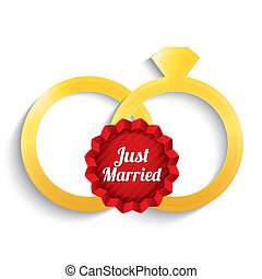 Wedding gold rings. Just married label.