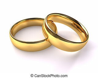 Wedding Gold Rings - Two gold rings stacked together one on...