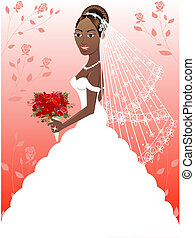 Wedding Gown 4 - A beautiful black woman on her wedding day....