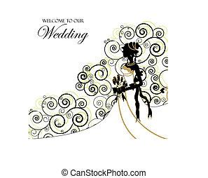 wedding, graphic;, gebrauch, als, einladung, oder, fotoalbum, decke