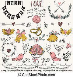 Wedding graphic set, arrows, hearts, birds, bells, rings, laurel, wreaths, ribbons and labels.